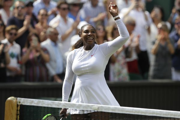 Serena Williams of the United States celebrates defeating Germany's Julia Gorges in their women's singles semifinals match at the Wimbledon Tennis Championships, in London, Thursday July 12, 2018.(AP Photo/Kirsty Wigglesworth)