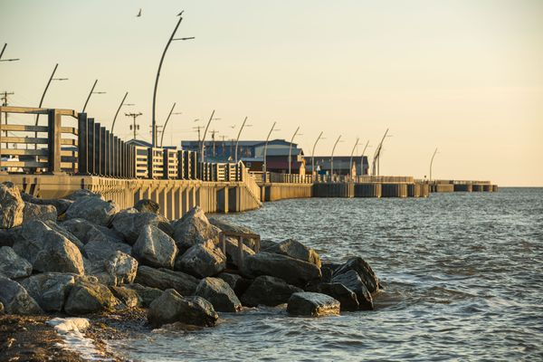 Kotzebue's $42 million seawall, seen on Monday, Aug. 31, 2015, was completed in 2012 to help curb erosion from winter storms.