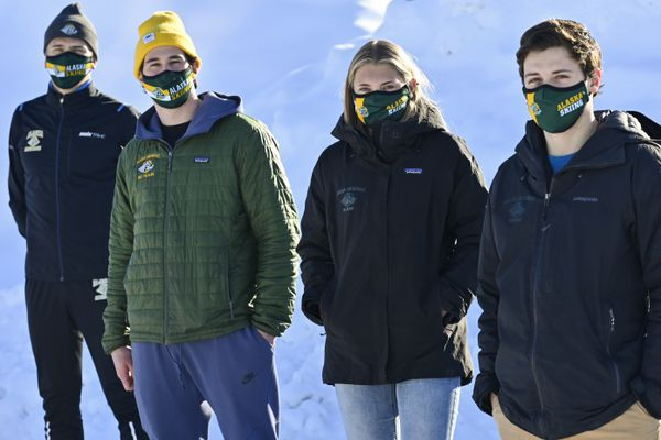 UAA skiers headed to NCAA Nationals in New Hampshire include, from left, Sigurd Roenning, Moro Bamber, Astrid Stave and Michael Soetaert. Photographed March 3, 2021. (Marc Lester / ADN)