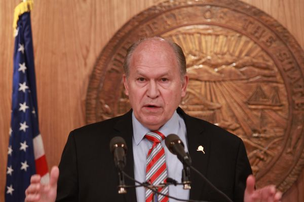 Alaska Gov. Bill Walker held a news conference at the Capitol in Juneau on Tuesday, April 18, 2017. (Nathaniel Herz / Alaska Dispatch News)