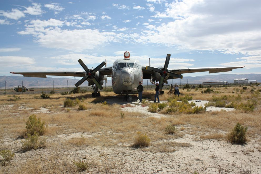 The Flying Boxcar aircraft that an Anchorage team hopes to transform into a vehicle is pictured in Battle Mountain, Nevada. (Courtesy John Will)