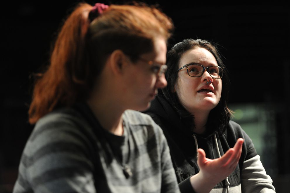 UAA sophomore Olivia Siegel, left, and junior Kathryn Banner, right, talk about the possible elimination of the UAA theater program on Tuesday. (Bill Roth / ADN)