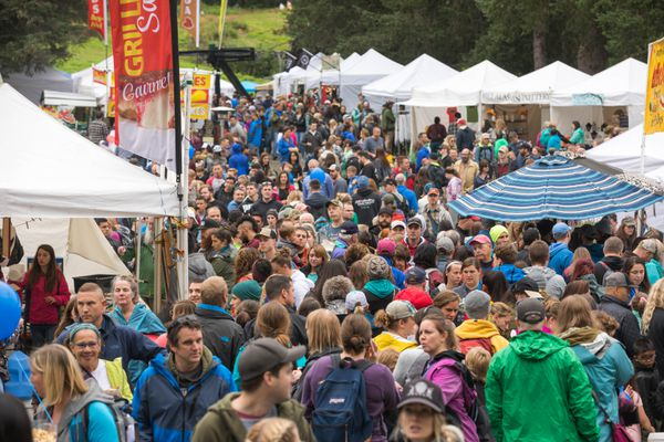 People packed into the Hotel Alyeska grounds for the Blueberry Festival on Saturday at Alyeska Resort. (Loren Holmes / ADN)