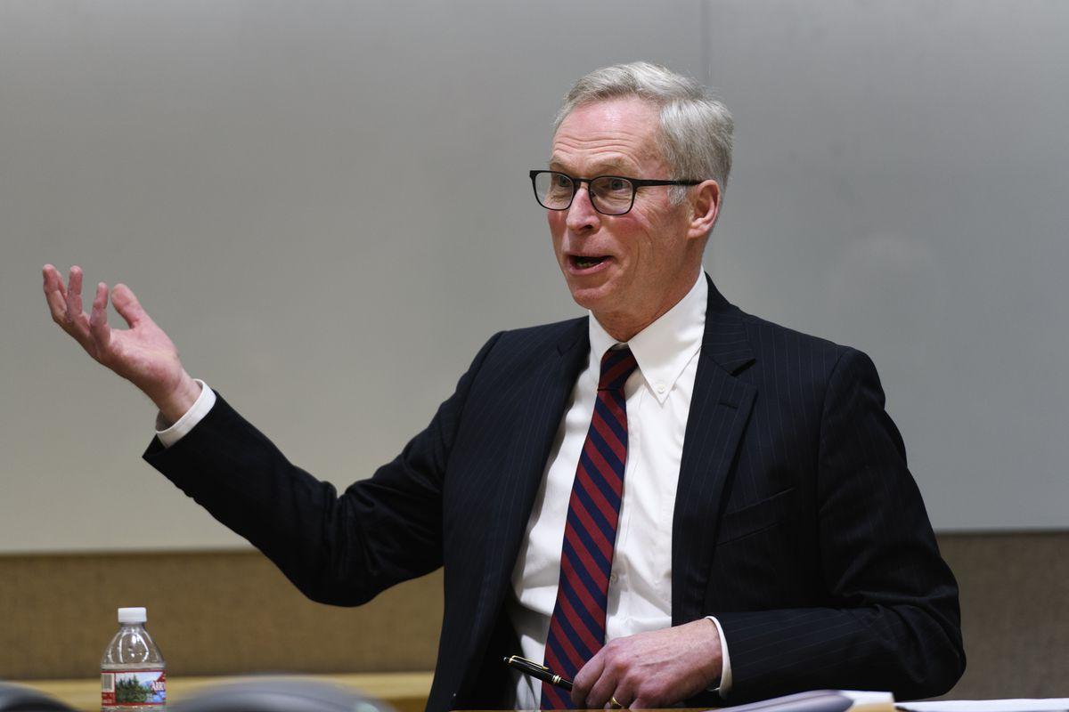 University of Alaska president Jim Johnsen addresses Gov. Mike Dunleavy's budget proposal at a press conference at University of Alaska Fairbanks on February 13, 2019. (Marc Lester / ADN)