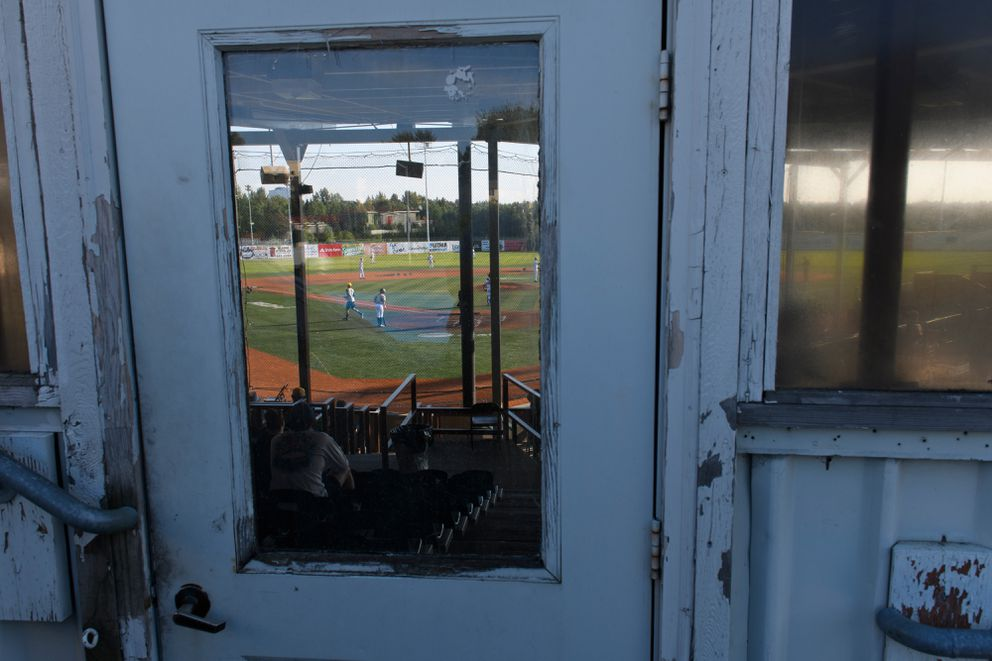 A door leads to the grandstands at Mulcahy Stadium on June 26, 2019. (Marc Lester / ADN)