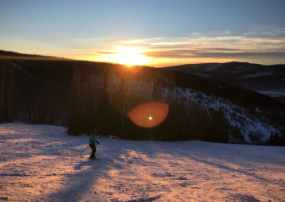 Francine St. Laurent skis at Moose Mountain in Fairbanks on Christmas Eve. (Vicky Ho / ADN)