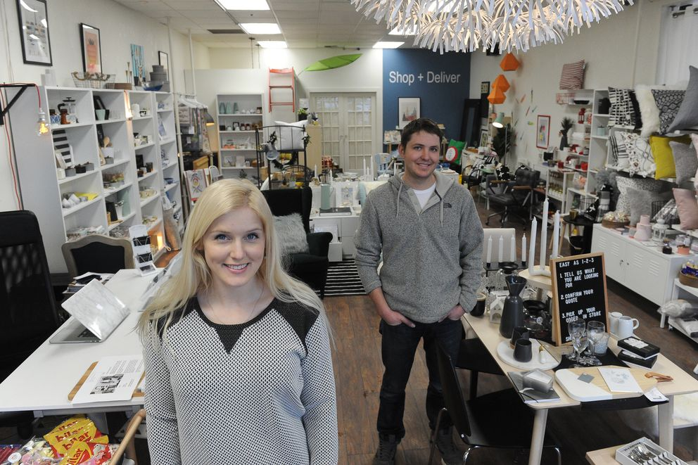 Erika Klaar and Michael Matteson are co-owners of Shop and Deliver by Lulu in Anchorage on Thursday, Jan. 19, 2018. They buy and ship furniture from the Lower 48 for customers. (Bob Hallinen / ADN)