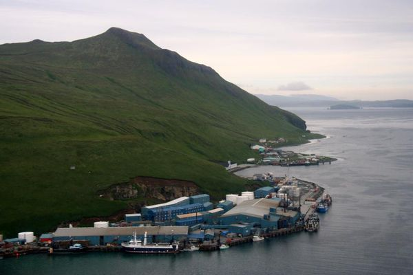 The Trident Seafoods plant (foreground) in Akutan. (Helena Buurman, Alaska Volcano Observatory / University of Alaska Fairbanks, Geophysical Institute)