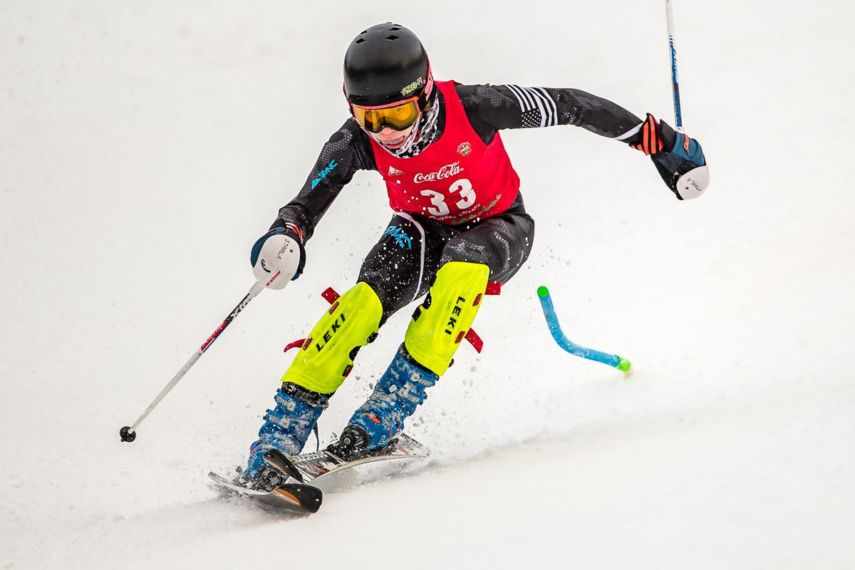 Joe Stahla, a usually composed U16 Alyeska Ski Club racer, here scrambles to avoid mishap on the last steep pitch approaching the finish in his second run in the second of two Coca-Cola Classic slaloms for U16 and U19 classes. Stahla won both U16 men's races Sunday at Alyeska, and was the fastest U16 in each run. (Bob Eastaugh photo)