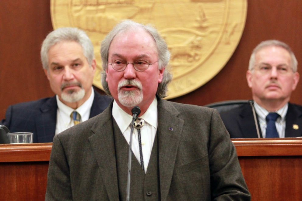 Alaska Supreme Court Chief Justice Craig Stowers delivers the annual State of the Judiciary speech to a joint session of the Legislature on Wednesday. Stowers outlined steps the courts have taken to cut spending and called on lawmakers to solve the state's budget crisis. (Nathaniel Herz / Alaska Dispatch News)