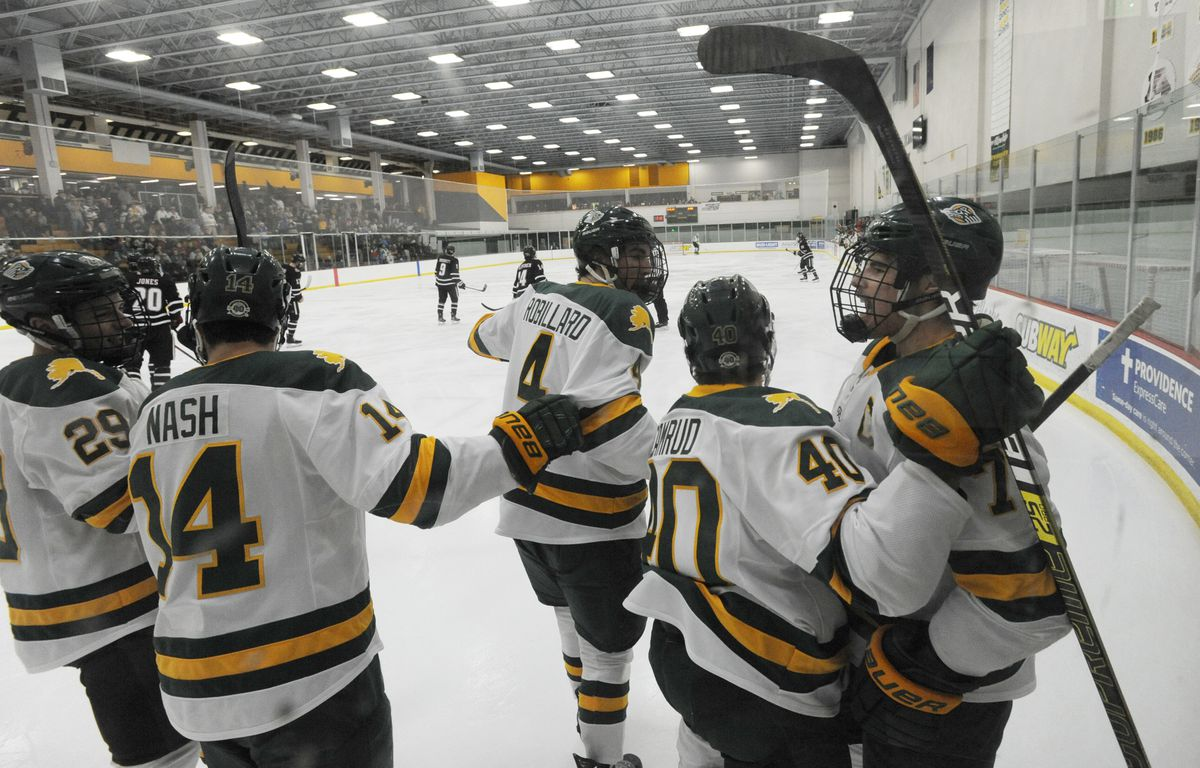 UAA Seawolves celebrate the first goal by freshman Brayden Camrud (40) during home game against the Omaha Mavericks on Halloween night, Thursday, Oct. 31, 2019. (Bill Roth / ADN)