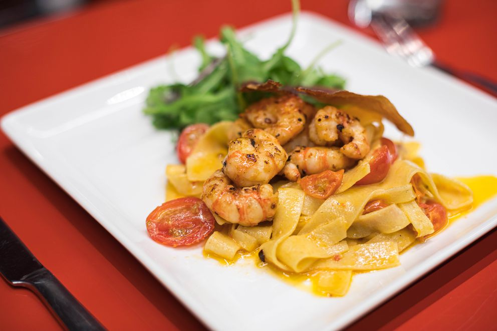 Spicy spot prawn pasta at Muse on July 16, 2019. (Loren Holmes / ADN)