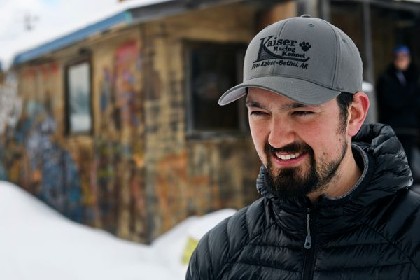 Musher Peter Kaiser, photographed on March 6, 2019, in Takotna, is the current frontrunner in the Iditarod Trail Sled Dog Race.(Marc Lester / ADN)