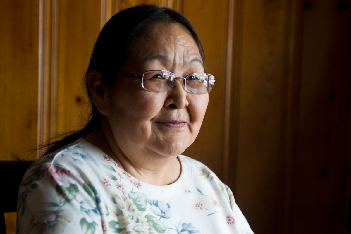 Molly Hootch Hymes was a named plaintiff in a 1972 lawsuit that sued Alaska for not providing high schools in Alaska Native villages. She is shown here on Tuesday. (Marc Lester / Alaska Dispatch News)