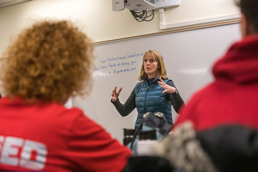 Sen. Natasha Von Imhof, R-Anchorage, speaks with constituents during a state budget town hall meeting on Saturday, Feb. 23, 2019 at the Anchorage School District education center. (Loren Holmes / ADN)