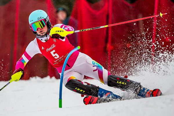 Alyeska Ski Club U16 Ava Liles cruised to class victory in the second of two Coca-Cola Classic slaloms Sunday at Alyeska. (Bob Eastaugh photo)