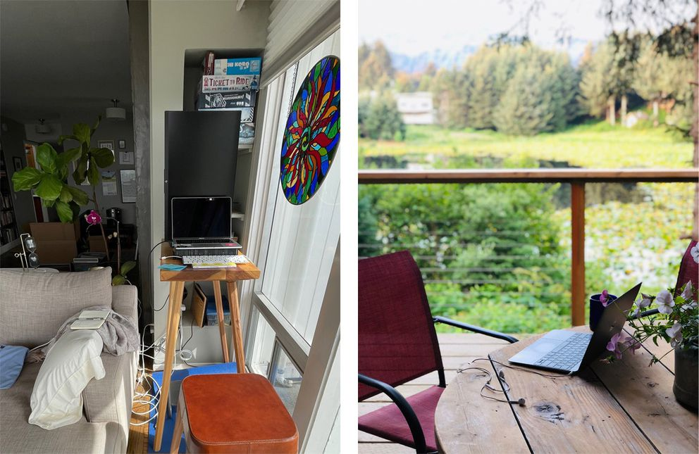 Clare Corthell splits her work time between San Francisco, left and her cabin in Seldovia, right. (Photos by Clare Corthell)