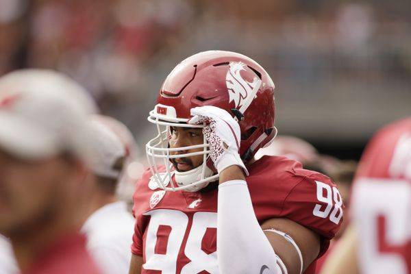 FILE - Washington State defensive lineman Dallas Hobbs (98) stands on the sideline during the first half of an NCAA college football game against Northern Colorado in Pullman, Wash., in this Saturday, Sept. 7, 2019, file photo. Now that he has graduated with a major in digital technology and culture, defensive lineman Dallas Hobbs wants an opportunity to profit off some of his graphic designs while he continues playing football at Washington State. The problem is that he happens to play in one of the states that hasn't yet passed legislation to help athletes make money off their celebrity while they are still in school.(AP Photo/Young Kwak, File)