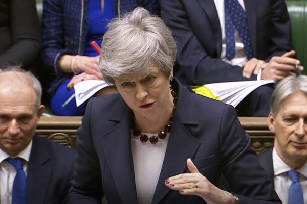 In this grab taken from video, Britain's Prime Minister Theresa May speaks during Prime Minister's Questions in the House of Commons, London, Wednesday March 27, 2019. British lawmakers are preparing to vote Wednesday on alternatives for leaving the European Union as they seek to end an impasse following the overwhelming defeat of the deal negotiated by Prime Minister Theresa May. (House of Commons/PA via AP)