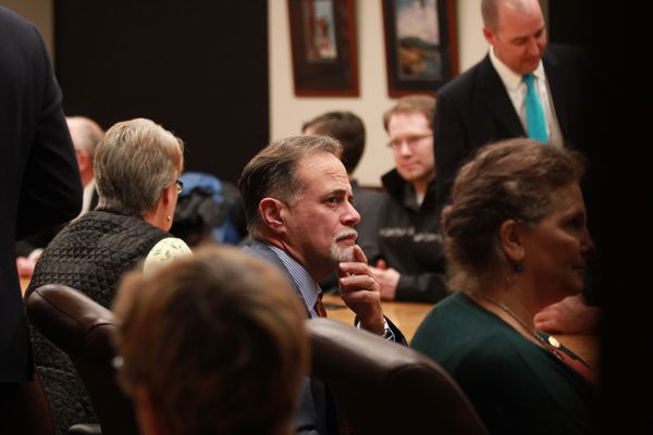 Soldotna Republican Sen. Peter Micciche awaits a legislative briefing on Alaska's gas pipeline project Wednesday night, Nov. 8, 2017, from Gov. Bill Walker. Lawmakers gathered on the third floor of the Capitol in Juneau for the briefing from Walker, who was calling from China. (Nathaniel Herz / Alaska Dispatch News)
