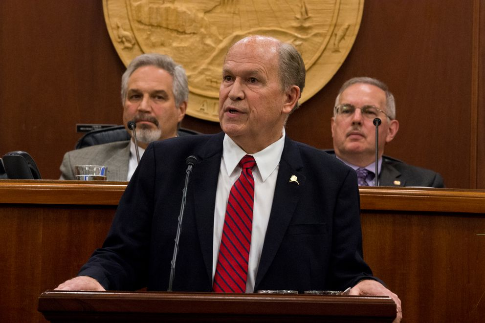 Gov. Bill Walker during his State of the State address at the Capitol in Juneau on Jan. 18 (Marc Lester / Alaska Dispatch News file)