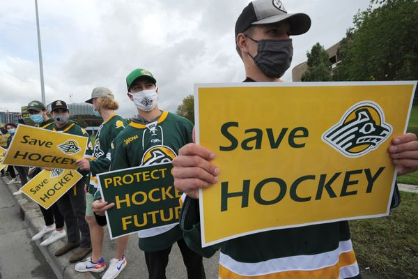 UAA Seawolves hockey players joined people from the hockey and figure skating communities during a protest outside the Loussac Library during an Anchorage Assembly meeting on Wednesday, August 26, 2020. (Bill Roth / ADN)