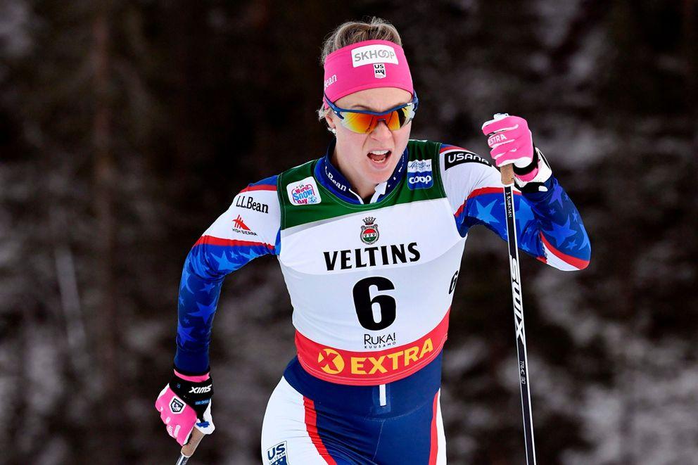 Sadie Maubet Bjornsen races ina World Cup sprint race in Finland during the 2018-19 season. (Markku Ulander/Lehtikuva via AP)