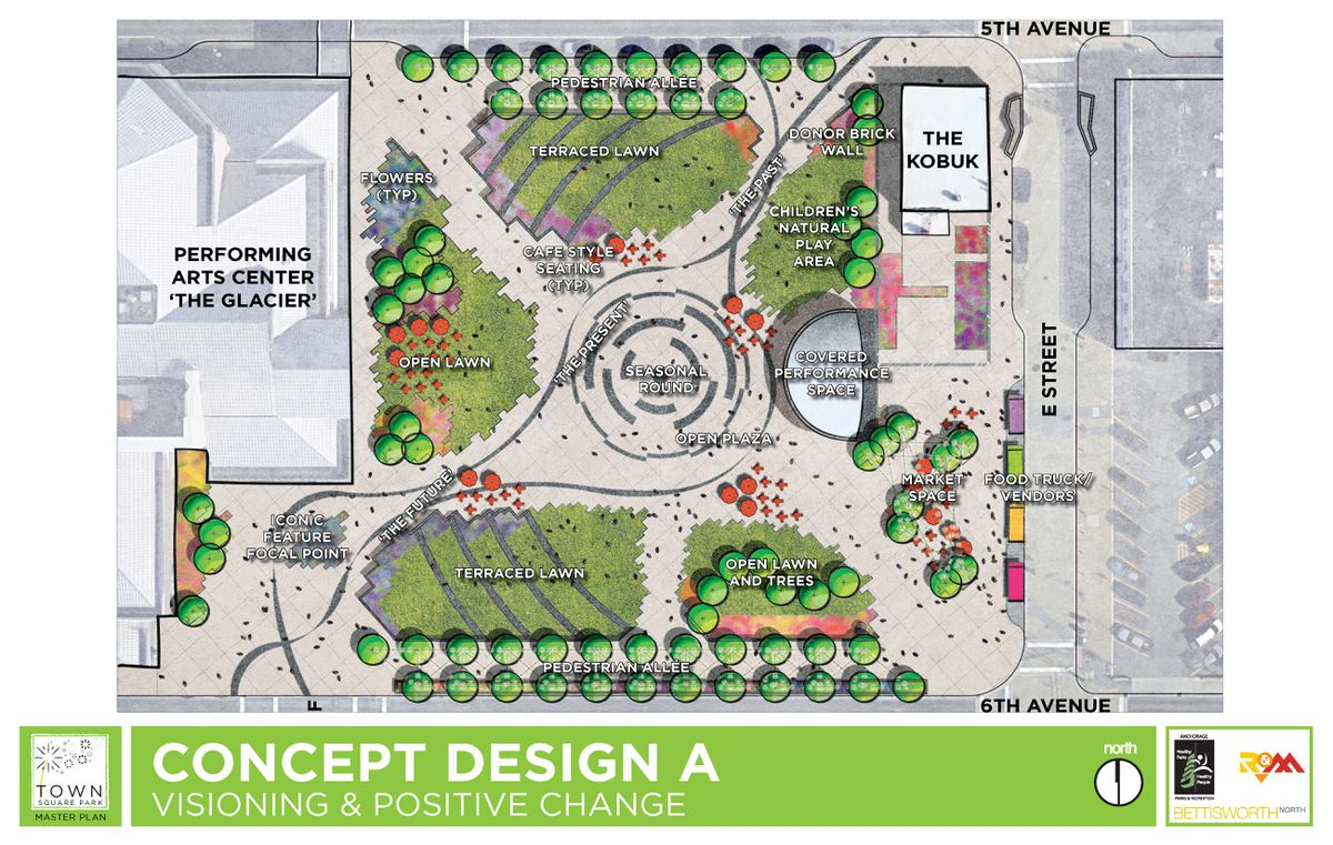 Town Square Master Plan concept design A (Image provided by Municipality of Anchorage)