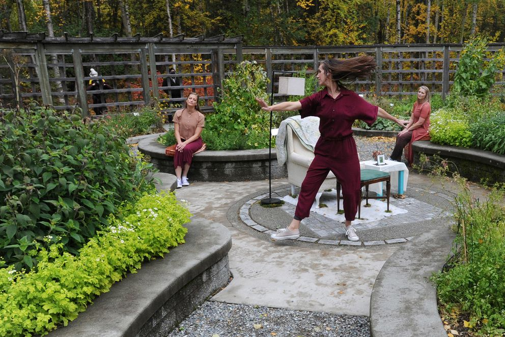 Dancers from left, Beth Daly Gamble, Stephanie Stepp, and Amy Kofoid with Momentum Dance Collective performed live and virtually at the Alaska Botanical Garden on Sunday. (Bill Roth / ADN)