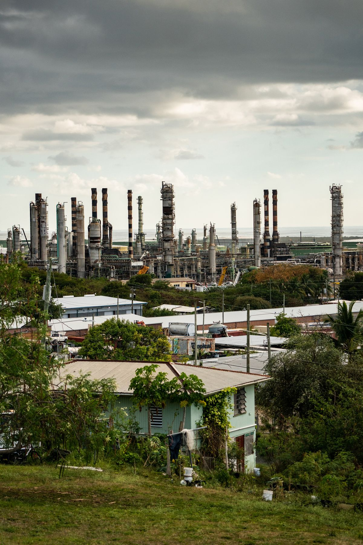 The Limetree Bay refinery is shown from a nearby neighborhood in St. Croix, U.S. Virgin Islands, on Saturday, March 13, 2021. (Washington Post photo by Salwan Georges)