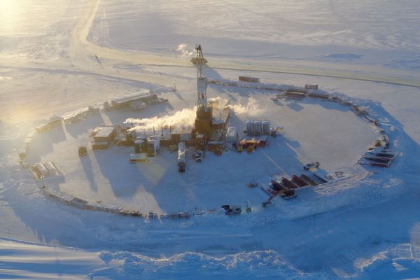 A rig explores for oil at Smith Bay on Alaska's North Slope for Caelus Energy in this 2014 photo. Caelus was among many small explorers who participated in the state's former tax credit program that paid a cash share of costs for qualifying work. A judge upheld a bill to pay off those credits by selling subject-to-appropriation bonds as constitutional in a decision issued Jan. 2. (Photo provided by Caelus Energy)