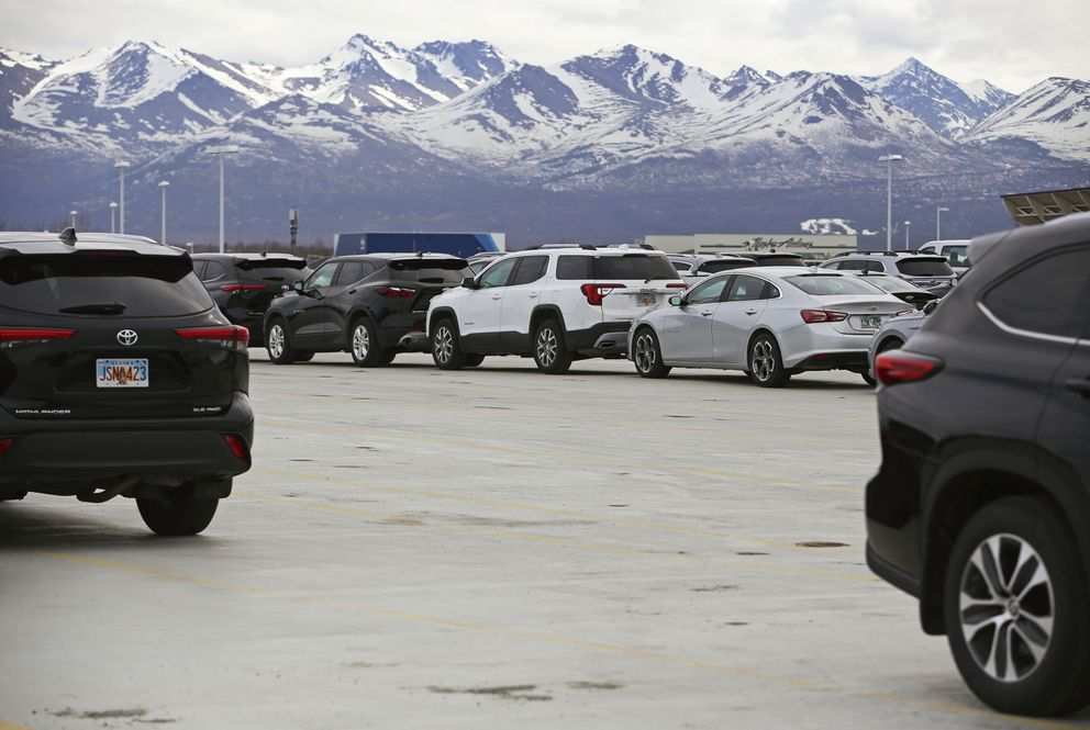 The overflow parking lot for rental car companies is emptier than usual at their airport location in Anchorage on Tuesday, May 4, 2021. (Emily Mesner / ADN)