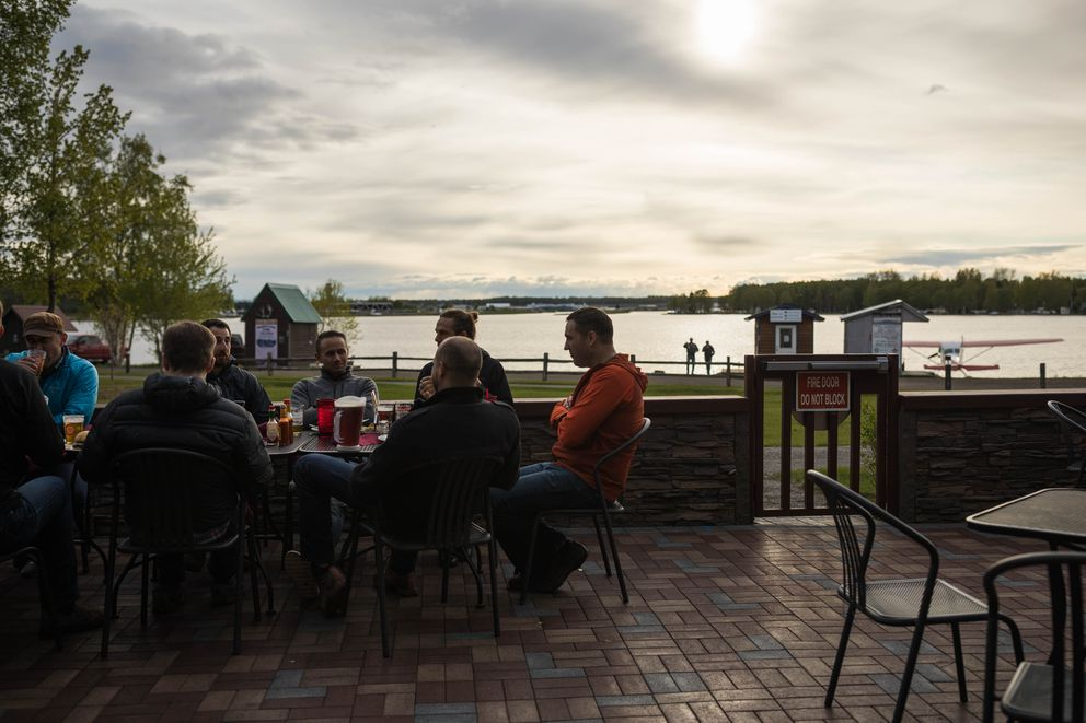 Fancy Moose Lounge on the Lake Hood Seaplane Base affords a great view of floatplanes taking of and landing. (Loren Holmes / ADN)
