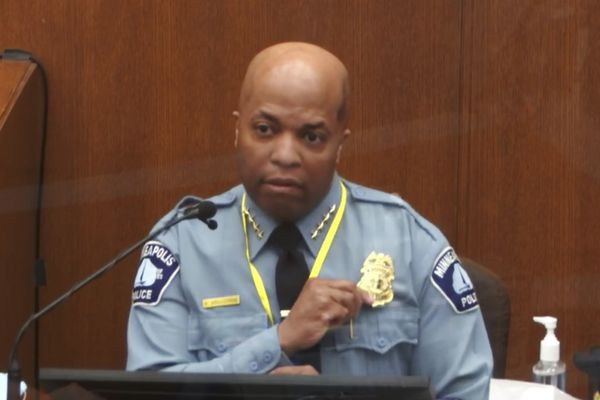 In this image from video, witness Minneapolis Police Chief Medaria Arradondo testifies as Hennepin County Judge Peter Cahill presides Monday, April 5, 2021, in the trial of former Minneapolis police Officer Derek Chauvin at the Hennepin County Courthouse in Minneapolis. Chauvin is charged in the May 25, 2020 death of George Floyd. (Court TV via AP, Pool)