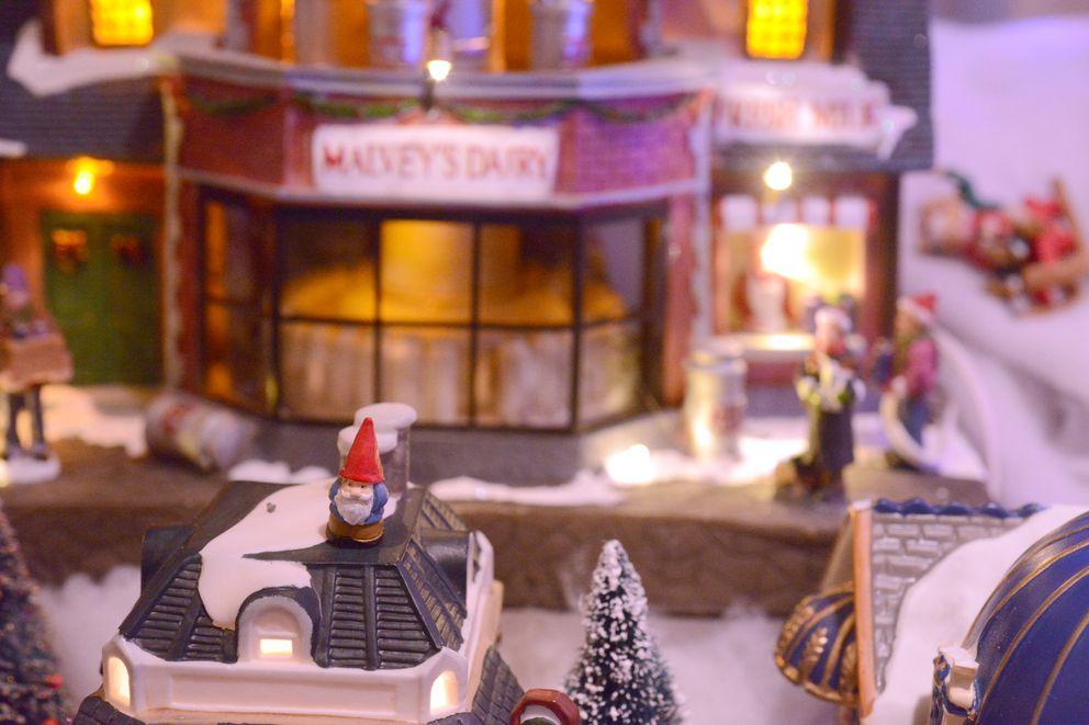 Gnomes are a surprise presence in Nate Baer's miniature Christmas village - they pop up in unexpected places. (Anne Raup / ADN)