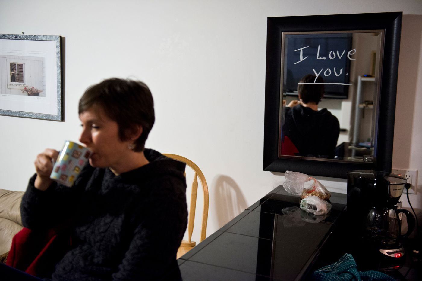 Rep. Ivy Spohnholz rents an apartment across the bridge from Juneau in the town of Douglas. The Anchorage representative's family stays in Anchorage while she's in Juneau, but her husband left her a message on the mirror during a recent visit. (Marc Lester / Alaska Dispatch News)
