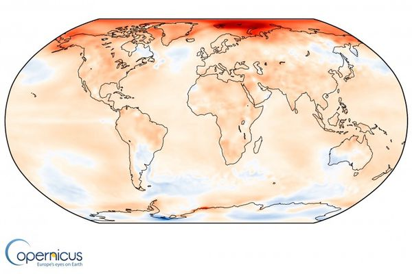 Surface air temperature anomaly for 2016 relative to the average for 1981-2010. Source: ERA-Interim. (Credit: ECMWF, Copernicus Climate Change Service)