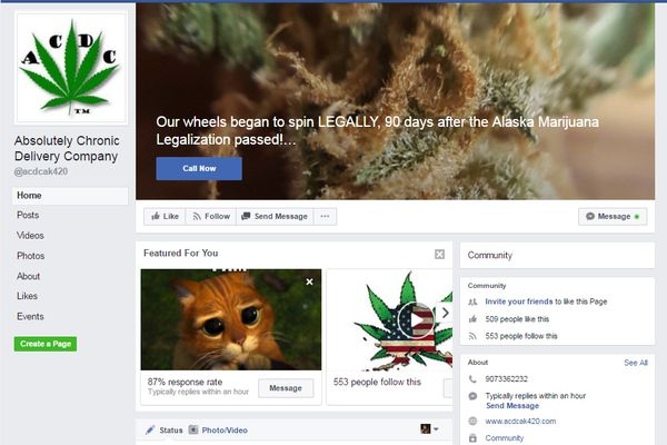 ACDC (Absolutely Chronic Delivery Co.) Facebook page screenshot, June 27.