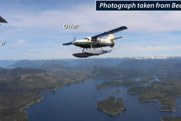 NTSB explains what happened in the midair collision between two airplanes May 13, 2019 over George Inlet. In this frame, a real photograph of the Otter was taken from a third-row passenger of the Beaver, about 1-2 seconds before impact. (Screenshot of NTSB video)