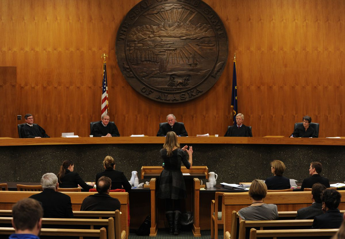 The Alaska Supreme Court, seen during oral arguments in 2016, is now considering whether or not to grant a speedy schedule for the recall campaign against Gov. Mike Dunleavy. (Bill Roth / ADN)