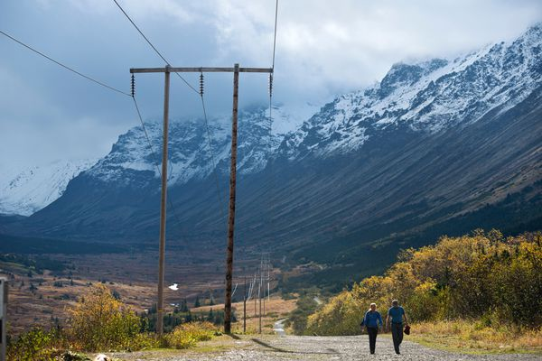 Sunlight reaches Powerline Trail. Clearing weather revealed snow on some peaks and ridges of Chugach State Park on Friday, September 23, 2016. (Marc Lester / Alaska Dispatch News)