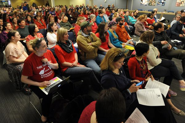 Teachers filled the School Board meeting room inside the Anchorage School District headquarters on Monday, May 7, 2018. (Bill Roth / ADN)