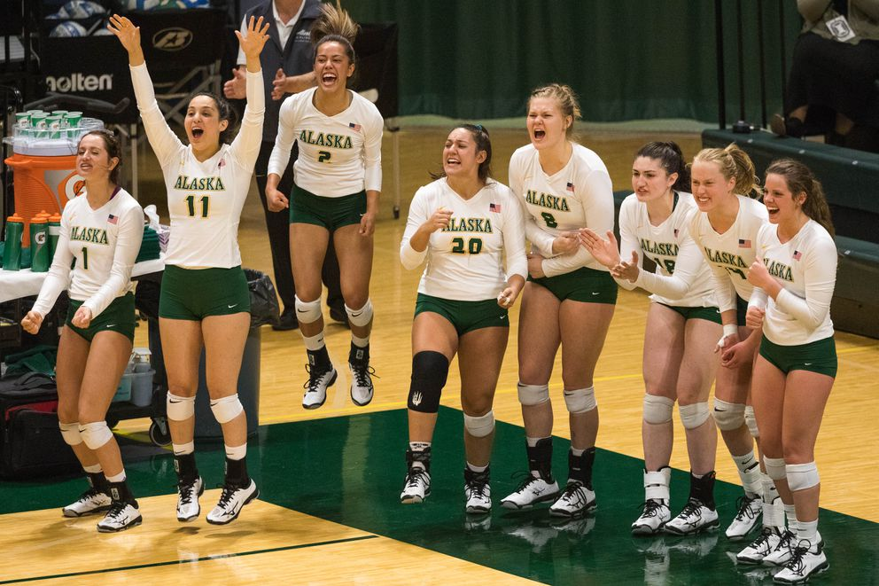 The UAA volleyball team celebrates a point during a season-opening game against the Western New Mexico Mustangs Thursday, Aug. 23, 2018 at the Alaska Airlines Center. (Loren Holmes / ADN)