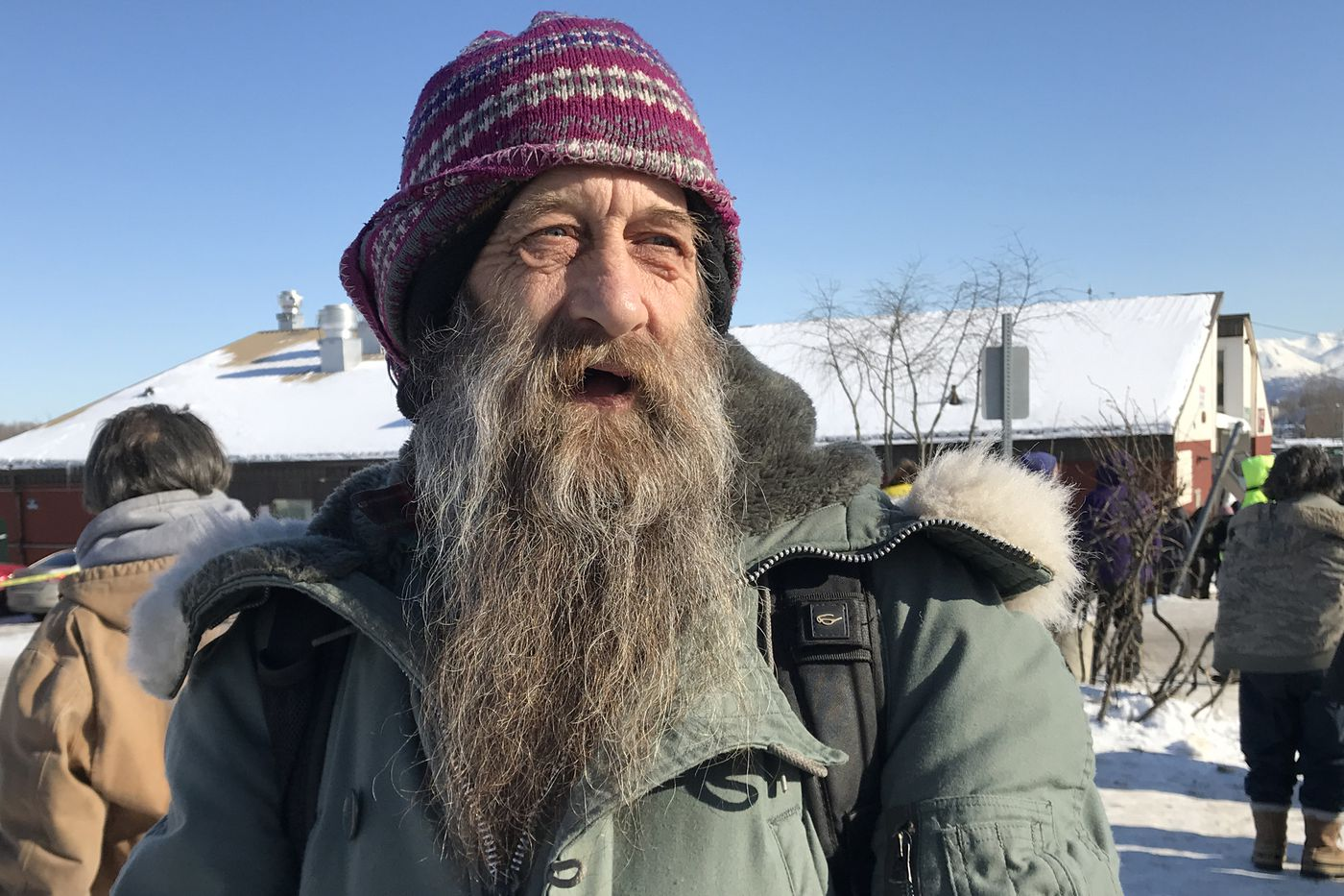 A man that goes by the name Rabbit said, 'It's mind over matter ', when asked about the coronavirus near Bean's Cafe in Anchorage on Wednesday, March 11, 2020. (Bill Roth / ADN)
