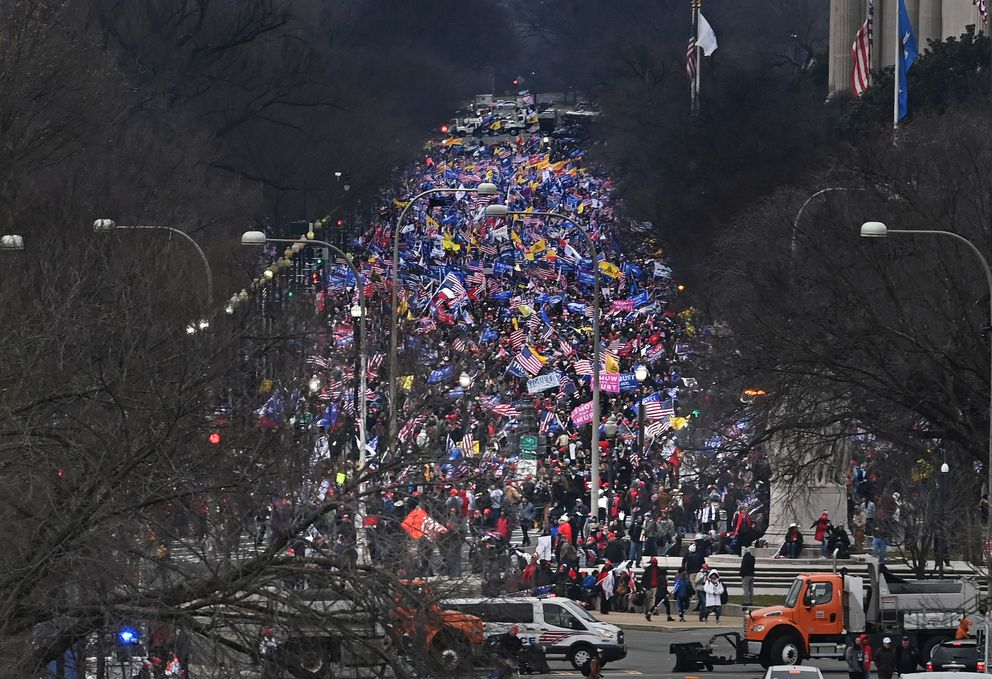 Trump supporters make their way toward the Capitol after his speech. (Washington Post photo by Michael S. Williamson)