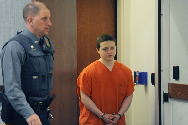 Erick Almandinger who was convicted in the 2016 murder of 16-year-old David Grunwald appeared in Palmer Superior Court for sentencing on Wednesday, March 20, 2019. (Bill Roth / ADN)