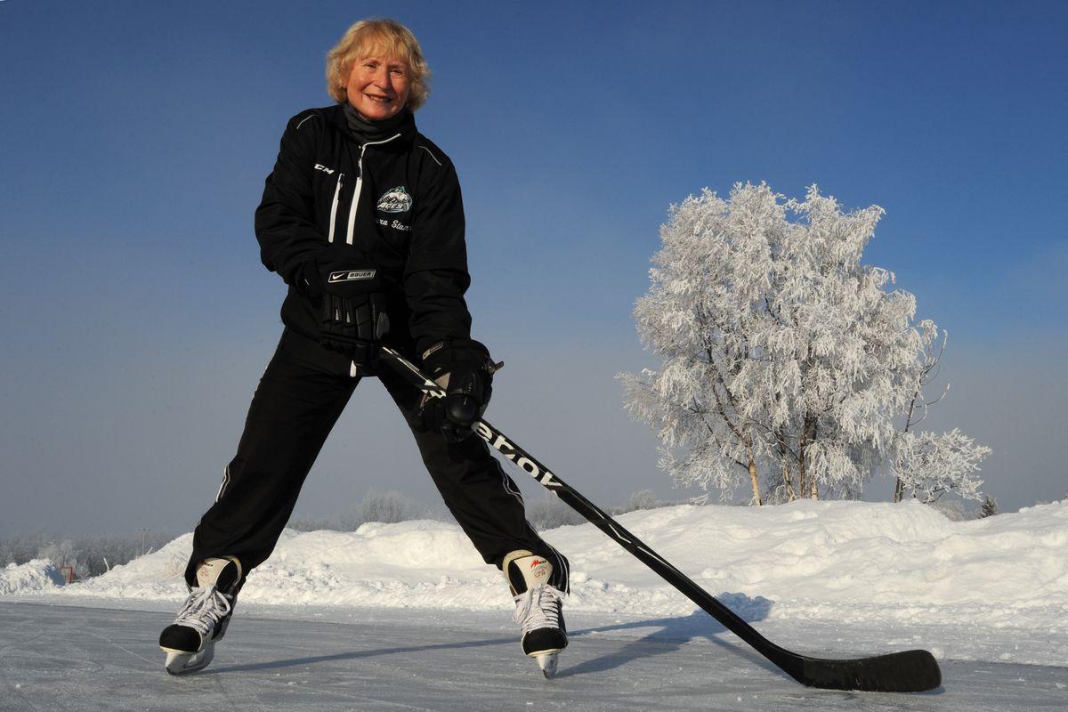 Laura Stamm skates at Westchester Lagoon on a sunny Sunday last month. (Bill Roth / Alaska Dispatch News)
