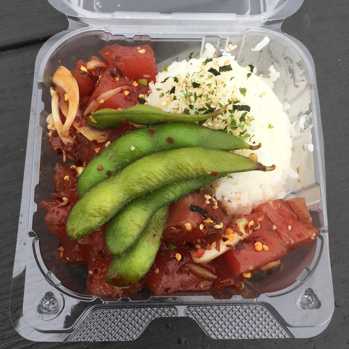 Poke bowl served with sticky rice and edamame at Da Poke Man Express (Photo by Mara Severin)