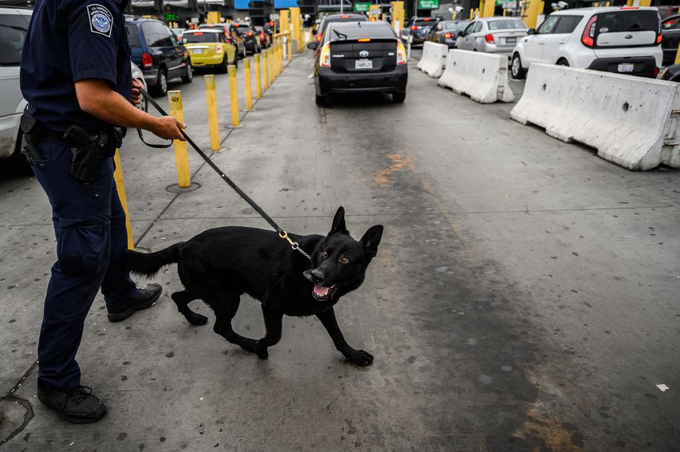 Officer Daniel Howard searches vehicles with his drug dog, Dan, in June 2019, at the San Ysidro Port of Entry in San Diego, the busiest border crossing in the Western Hemisphere. (Washington Post photo by Salwan Georges)
