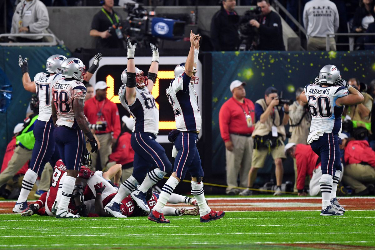 New England Patriots quarterback Tom Brady (12) and his team celebrate their win over Atlanta Falcons in overtime during Super Bowl LI at NRG Stadium. The Patriots won 34-28. (Bob Donnan / USA TODAY Sports)